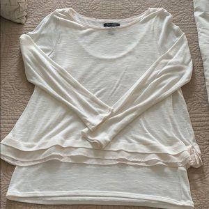 White House Black Market cream layered sweater